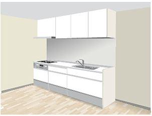 I型キッチン壁付け