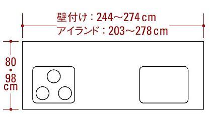 対面型キッチンサイズ