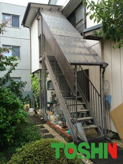 鉄骨階段塗装と波板交換施工前