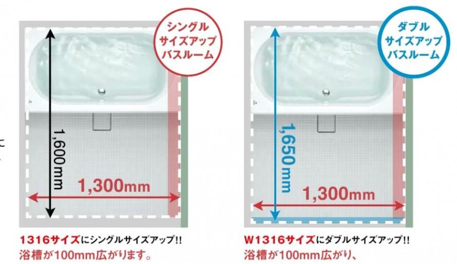 浴槽サイズアップ
