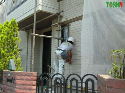 塗装工事の養生作業