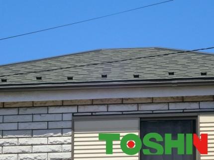 アスファルトシングルで屋根の葺き替え 施工後