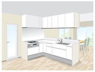 L型キッチン造作対面1