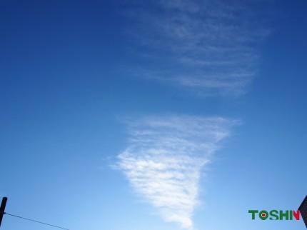 真っ青な空と不思議な雲