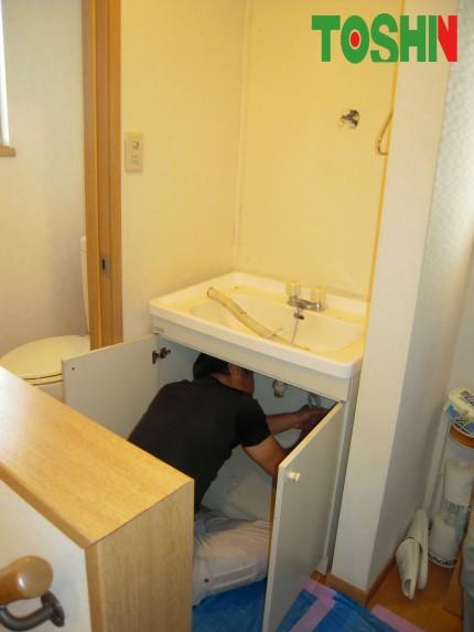 高さにこだわった洗面台 施工中