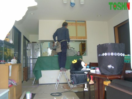 キッチン壁の解体工事