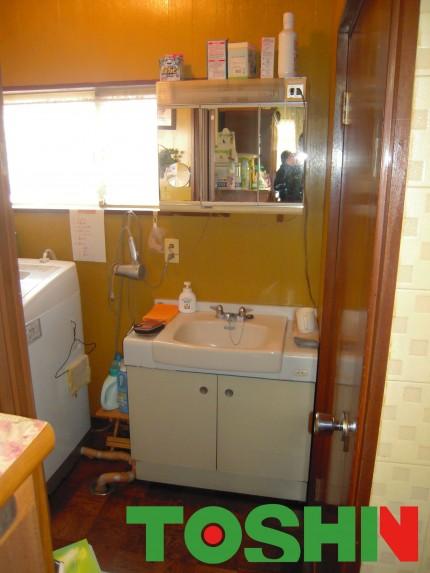 洗面化粧台の交換施工前
