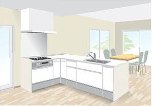 対面型キッチン壁付けスリム対面