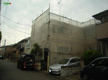 外壁塗装工事施工中