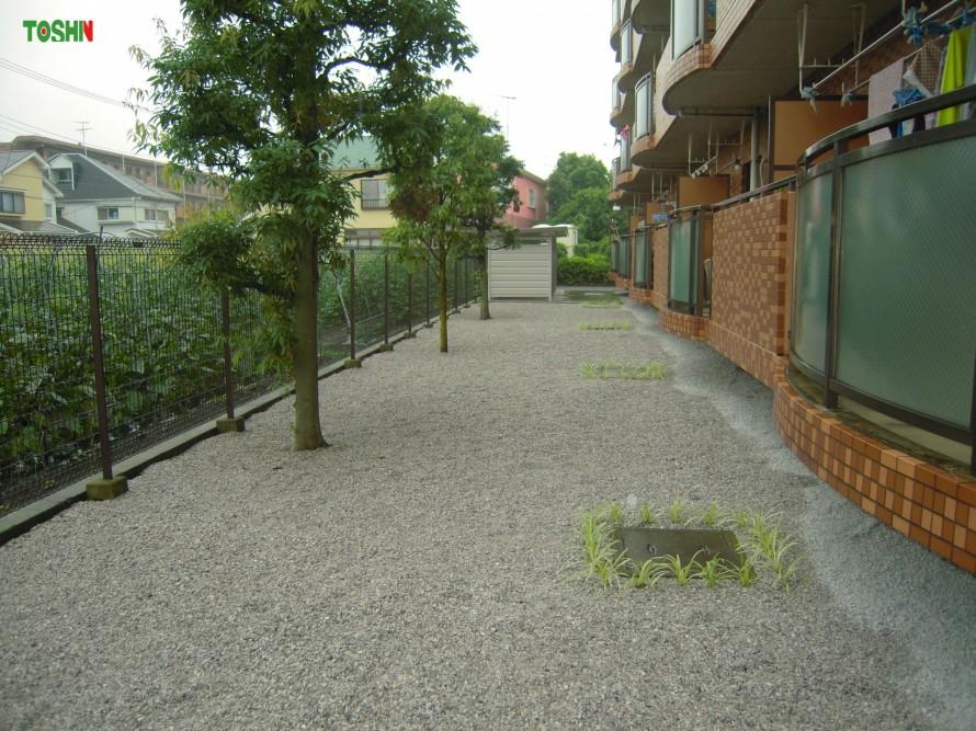 雑草の防止施工後
