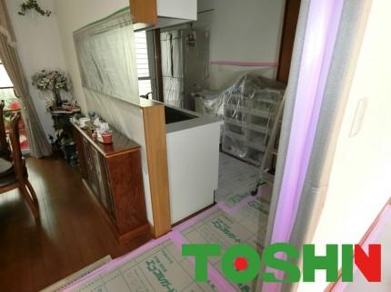 キッチン工事(養生)